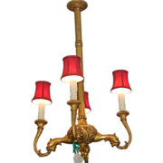 Unusual Antique 19C French Giltwood Chandelier
