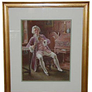 Antique British Watercolor Painting by Lucien Davis