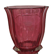 Unusual Antique Moser Royalit Cranberry Glass Beaker w Crown & PAB Monogram