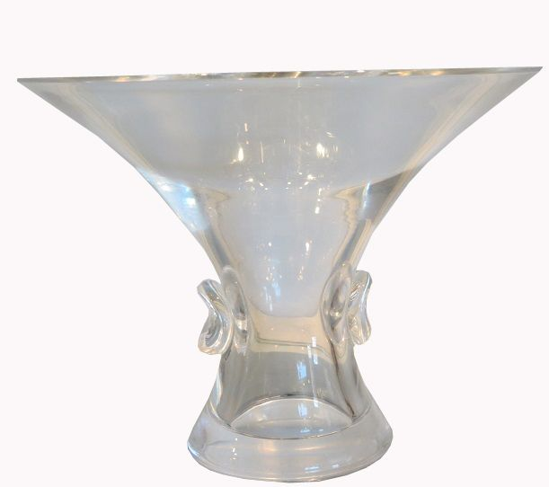 Unusual Signed Steuben Crystal Trumpet Vase