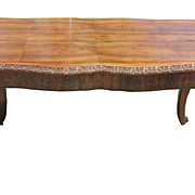 Antique 19th C Carved Italian Mahogany Writing or Entry Center Table
