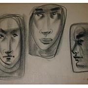 Sascha B Brastoff Pastel Drawing Modernist Faces