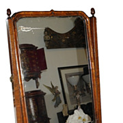 Unusual Antique Biedermeier Burl Walnut Table Mirror