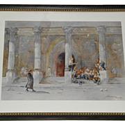 Antique Italian Watercolor Painting w Priest & Boys