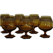 Rare Set of 6 Antique Moser Amber Gold Crystal Brandy Snifter Stems Copenhagen