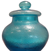 Unusual Antique Big Baccarat Blue Glass Covered Jar