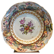 Unusual Antique Capodimonte Doccia Porcelain Plate w Flowers & Putti