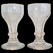 Pair of Antique Georgian Irish Glass Wine Stem Rummers w 1 Ring Stem