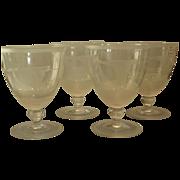 Unusual Set of 4 Antique American Cut Glass Wine Stems w Etched Goose Hunt Scene