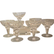 Set of 6 Scandinavian Cut Crystal Champagne Coupe Stems Rondo by Royal Leerdam