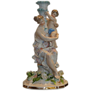 Rare Antique Hand Painted German Porcelain Figural Lamp w Putti