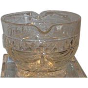 Unusual Antique 19th C Irish Crystal Wine Rinser w Drapery Cut Pattern