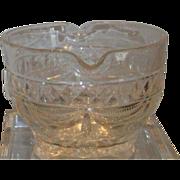 Unusual Antique 19th C Irish Crystal Wine Rinser w Drapery Cut Pattern