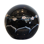 Signed Grant Randolph Studio Glass Black Lampwork Paperweight