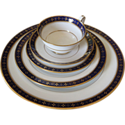 Set of 6 Antique Copeland Spode Porcelain 5 PC Blue & Gold Place Setting R4885