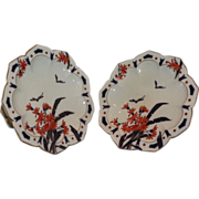 Pair of Rare Antique Crown Staffordshire Imari Porcelain Tazza