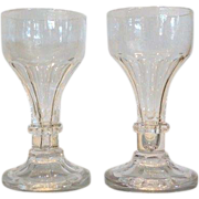Rare Pair Antique American Cut Glass Wine Stems by Long Island Flint Glass Co
