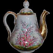 Rare Antique Hand Painted Schumann Berlin Porcelain Coffeepot c.1850