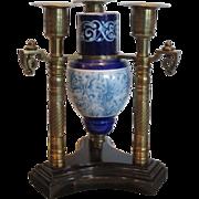 Antique Aesthetic Movement Bronze & Majolica Pottery Candelabra Vase