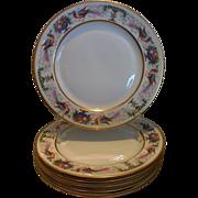 Antique Hutschenreuther Porcelain Hand Painted Plate Set of 6 Birds Pheasants