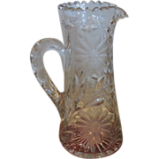 Unusual Antique American Brilliant Cut Glass ABP Pitcher or Tankard