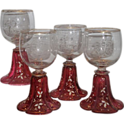 Set 0f 4 Antique Moser Enamel Decorated Cranberry Glass Wine Stems EL Monogram