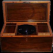 Antique Regency Walnut Tea Caddy Casket Box w Tin Lined Interior w Cobalt Bowl