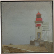 Original Oil Painting of a French Lighthouse Ouest by R. Bourquin