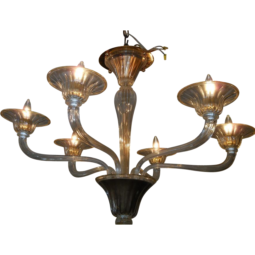 spectacular barovier toso murano glass 6 lite chandelier. Black Bedroom Furniture Sets. Home Design Ideas