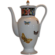 Unusual Mottahedeh Vista Allegre Porcelain Coffee Pot w Butterflies