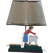 Unusual Antique Folk Art Whirligig Table Lamp