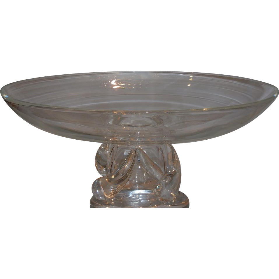 Unusual large signed steuben crystal footed centerpiece bowl from thrivedecor on ruby lane - Footed bowl centerpiece ...