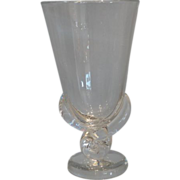 Unusual Signed Steuben Crystal Footed Vase