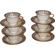 Set of 6 Antique Morgan Belleek Porcelain Cups & Saucers Azure