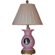 Antique Pink Old Paris Porcelain Portrait Lamp Early 19C Napoleonic