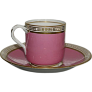 Early Antique Minton's Porcelain Pink & Gold Demi Espresso Cup & Saucer c.1820