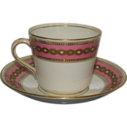 Early Antique Minton's Porcelain Pink & Gold Cup & Saucer c.1820