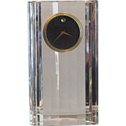 Superb Movado Modern Art Deco Crystal Clock