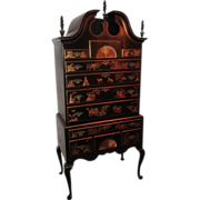 Antique New England Queen Anne Highboy Chest w Black Chinoiserie
