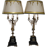 Superb Pair Antique Empire Bronze Candelabra Lamps w Gilded Parchment Shades