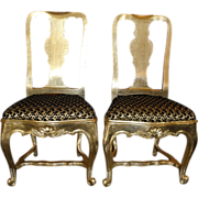 Pair of Antique 18C Queen Anne Silver-Leaf Chairs