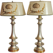 Pair of Fine Designer Yellow & White Gold Table Lamps by Thrive Decor w Custom Shades
