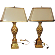 Superb Pair of Thomas Morgan Designer Table Lamps Pineapple Base & Custom Shade
