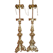 Pair of Thomas Morgan Designer White Gold Gilt-wood Altar Candlestick Lamps