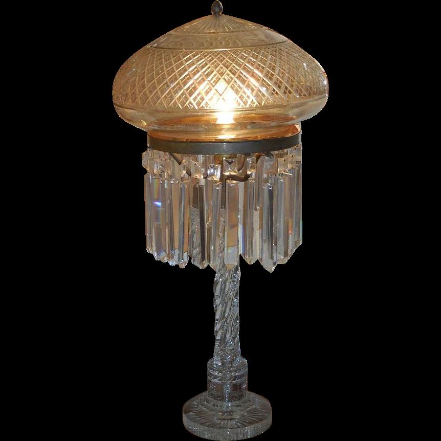 Unusual Antique Irish Cut Crystal Mushroom Lamp Sold On