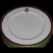 Antique Copeland Porcelain Armorial Garter Crest Plate Honi Soit Qui Mal y Pense