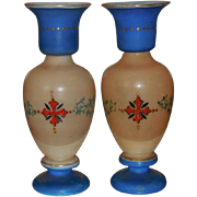 Pair of Antique Hand Painted Bristol Opaline Glass Vases w Enamel Portraits