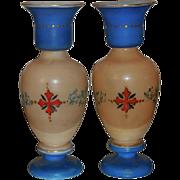Pair of Antique Hand Painted Bristol Opaline Glass Vases w Enamel Portraits