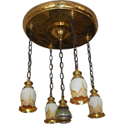Antique Chandelier w Signed Steuben Pulled Feather Shades