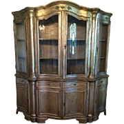 Unusual Antique Silverleaf Classical China Cabinet Vitrine w Bent Glass